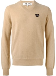 Comme Des Garcons Play Heart Logo V Neck Sweater Nude And Neutrals