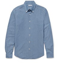 Boglioli Slim Fit Button Down Collar Cotton Chambray Shirt Blue