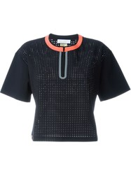 Monreal London Boxy Perforated T Shirt Black