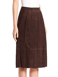 Pauw Pleated Suede Skirt Chocolate