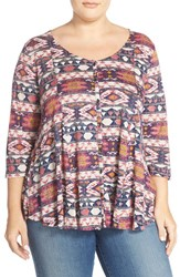 Plus Size Women's Lucky Brand Geo Print Button Front Top