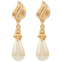 Susan Caplan Vintage Bridal 1970S Hobe Gold Plated Faux Pearl Drop Clip On Earrings Gold