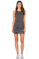 Sundry Striped Ruched Tank Dress Black