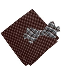 Tommy Hilfiger Men's Grid To Tie Bow Tie And Dot Pocket Square Set Burgundy