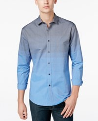 Vince Camuto Men's Ombre Long Sleeve Shirt Blue To Light Blue Fade