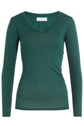 Velvet Long Sleeved Cotton Top Green