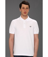 Fred Perry Slim Fit Solid Plain Polo White Men's Clothing