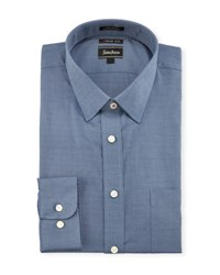 Neiman Marcus Extra Trim Regular Finish Dobby Dress Shirt Blue