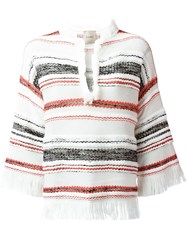 Nude Striped Knitted Top White