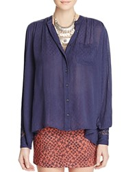 Free People The Best Button Down Shirt Navy