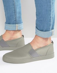 Asos Slip On Plimsolls In Grey With Elastic Grey Black