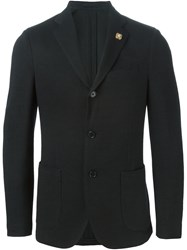 Lardini Notched Lapel Blazer Black