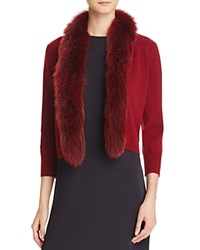 Bloomingdale's C By Fur Trim Cashmere Cardigan Cabernet