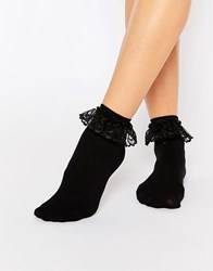 Leg Avenue Anklet Sock With Lace Ruffle Black