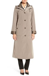Gallery Women's Full Length Two Tone Silk Look Raincoat Desert Sand