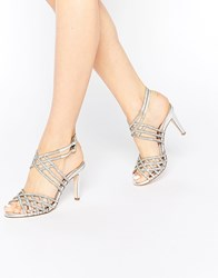 Faith Labyrinth Jewelled Labinyth Heeled Sandals Silver