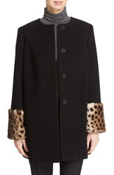 Helene Berman Women's Collarless Wool Blend Coat With Faux Fur Cuffs