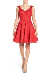 Mac Duggal Women's Lace Fit And Flare Party Dress Red