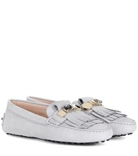 Tod's Gommini Frangia Crystal Embellished Suede Loafers Grey