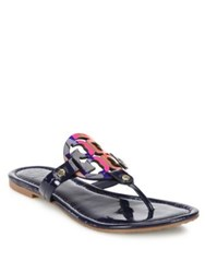 Tory Burch Miller Patent Leather And Rainbow Logo Thong Sandals Royal Navy