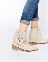 Supertrash Hidden Wedge Luna Suede Fringed Boots Nude