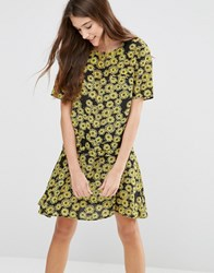 Ymc Floral Printed Swing Dress Yellow Black