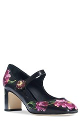 Dolce And Gabbana Women's Floral Print Mary Jane Pump Black Floral