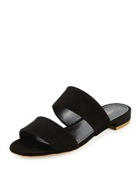 Mansur Gavriel Suede Two Band Flat Slide Sandal Black