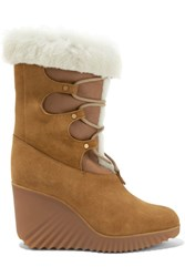 Chloe Shearling Trimmed Suede Wedge Boots Tan