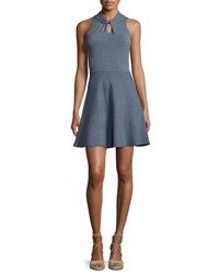 Milly Twist Neck Fit And Flare Dress Chambray