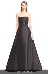 Reem Acra Belted Strapless A Line Gown With Back Inset In Stores Only Black White