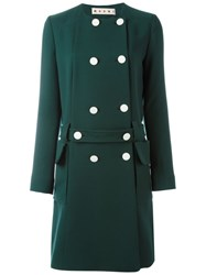 Marni Belted Double Breasted Mac Green