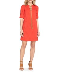 Tahari By Arthur S. Levine Petite Lace Up Tassel Shift Dress Poppy Red