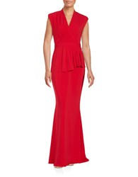 Badgley Mischka Pleated Surplice Gown Cherry Red