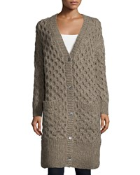 Michael Kors Collection Button Front Textured Long Cardigan Bison Melange Women's Size Xs S