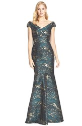 David Meister Off The Shoulder Jacquard Mermaid Gown Green Gold