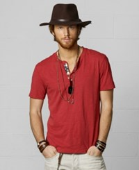 Denim And Supply Ralph Lauren Cotton Flag Patch Henley Sailor Red