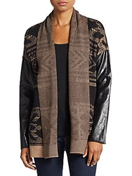 Twelfth St. By Cynthia Vincent Faux Leather Sleeved Cotton And Cashmere Cardigan Black Brown