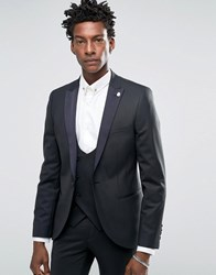 Noose And Monkey Tuxedo Suit Jacket With Stretch Contrast Satin Lapel In Super Skinny Fit Black