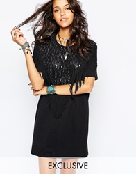 Reclaimed Vintage T Shirt Dress With Sequin And Tassel Front Black