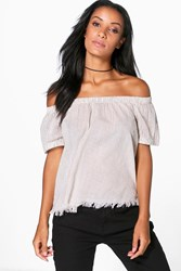 Boohoo Woven Stripe Raw Edge Off The Shoulder Top Cream