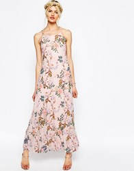 Asos Pretty Printed Mesh Maxi Dress Pink
