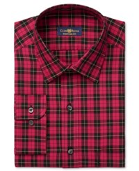 Club Room Men's Estate Classic Fit Wrinkle Resistant Red Brodie Tartan Dress Shirt Only At Macy's