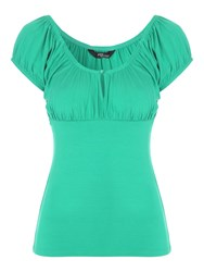 Jane Norman Keyhole Button Gypsy Top Green