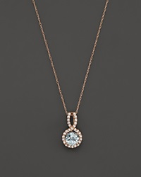 Bloomingdale's Aquamarine And Diamond Pendant Necklace In 14K Rose Gold 16 Blue Pink