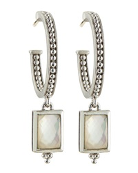 Judith Ripka Vintage Mother Of Pearl Doublet Hoop Dangle Earrings Small