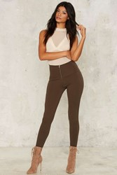 Zipped From The Headlines Leggings Brown Green