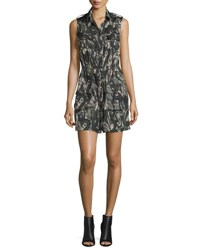 Haute Hippie Sleeveless Silk Paisley Cargo Dress Camo Paisley Camo