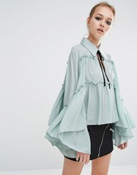 Sister Jane Tie Neck Ruffle Smock Top Blue