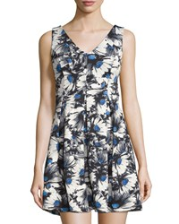 Romeo And Juliet Couture Sleeveless Floral Print Fit And Flare Dress Gray Multi
